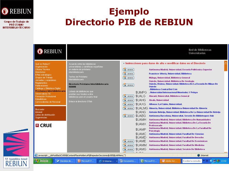 Ejemplo Directorio PIB de REBIUN