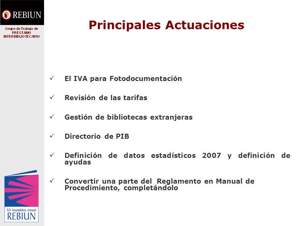 Principales Actuaciones El IVA para Fotodocumentación Revisión de las tarifas Gestión de bibliotecas extranjeras Directorio de PIB Definición de datos estadísticos 2007 y definición de ayudas Convertir una parte del Reglamento en Manual de Procedimiento, completándolo