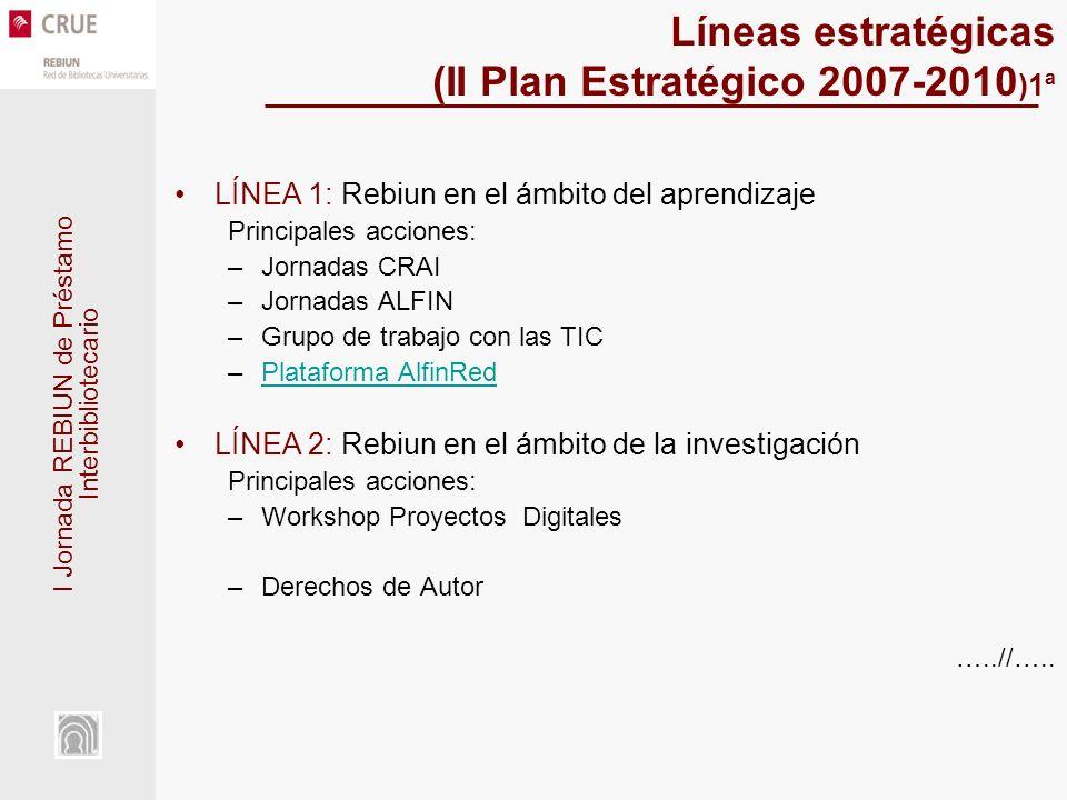 I Jornada REBIUN de Préstamo Interbibliotecario Líneas estratégicas (II Plan Estratégico 2007-2010 )1ª LÍNEA 1: Rebiun en el ámbito del aprendizaje Principales acciones: –Jornadas CRAI –Jornadas ALFIN –Grupo de trabajo con las TIC –Plataforma AlfinRedPlataforma AlfinRed LÍNEA 2: Rebiun en el ámbito de la investigación Principales acciones: –Workshop Proyectos Digitales –Derechos de Autor …..//…..