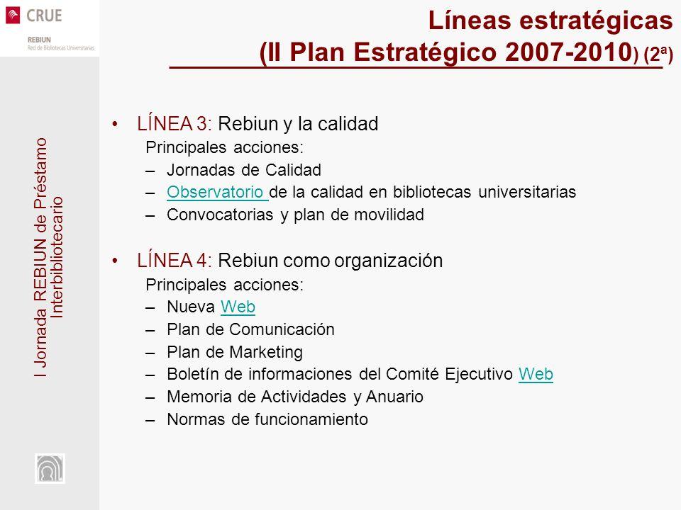 I Jornada REBIUN de Préstamo Interbibliotecario Líneas estratégicas (II Plan Estratégico 2007-2010 ) (2ª) LÍNEA 3: Rebiun y la calidad Principales acc
