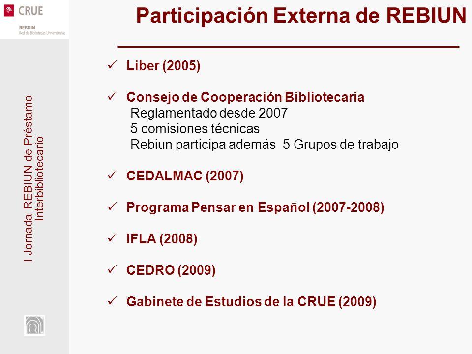 I Jornada REBIUN de Préstamo Interbibliotecario Participación Externa de REBIUN Liber (2005) Consejo de Cooperación Bibliotecaria Reglamentado desde 2007 5 comisiones técnicas Rebiun participa además 5 Grupos de trabajo CEDALMAC (2007) Programa Pensar en Español (2007-2008) IFLA (2008) CEDRO (2009) Gabinete de Estudios de la CRUE (2009)