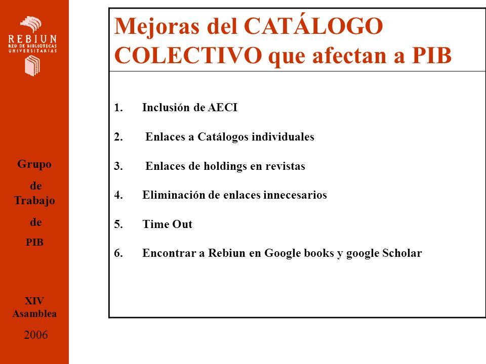 Mejoras del CATÁLOGO COLECTIVO que afectan a PIB 1.Inclusión de AECI 2.