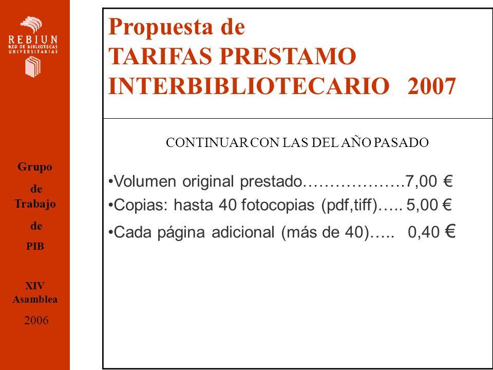 Propuesta de TARIFAS PRESTAMO INTERBIBLIOTECARIO 2007 CONTINUAR CON LAS DEL AÑO PASADO Volumen original prestado……………….7,00 Copias: hasta 40 fotocopias (pdf,tiff)…..