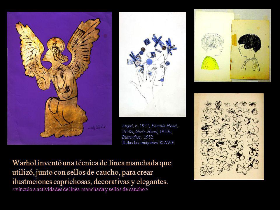 Warhol inventó una técnica de línea manchada que utilizó, junto con sellos de caucho, para crear ilustraciones caprichosas, decorativas y elegantes. A