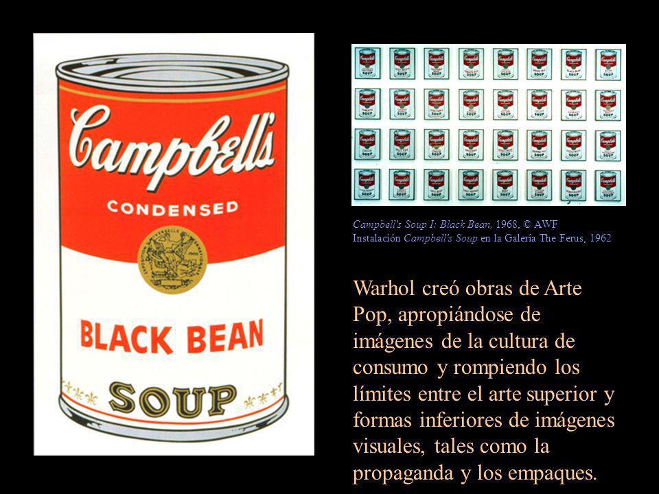 Warhol creó obras de Arte Pop, apropiándose de imágenes de la cultura de consumo y rompiendo los límites entre el arte superior y formas inferiores de