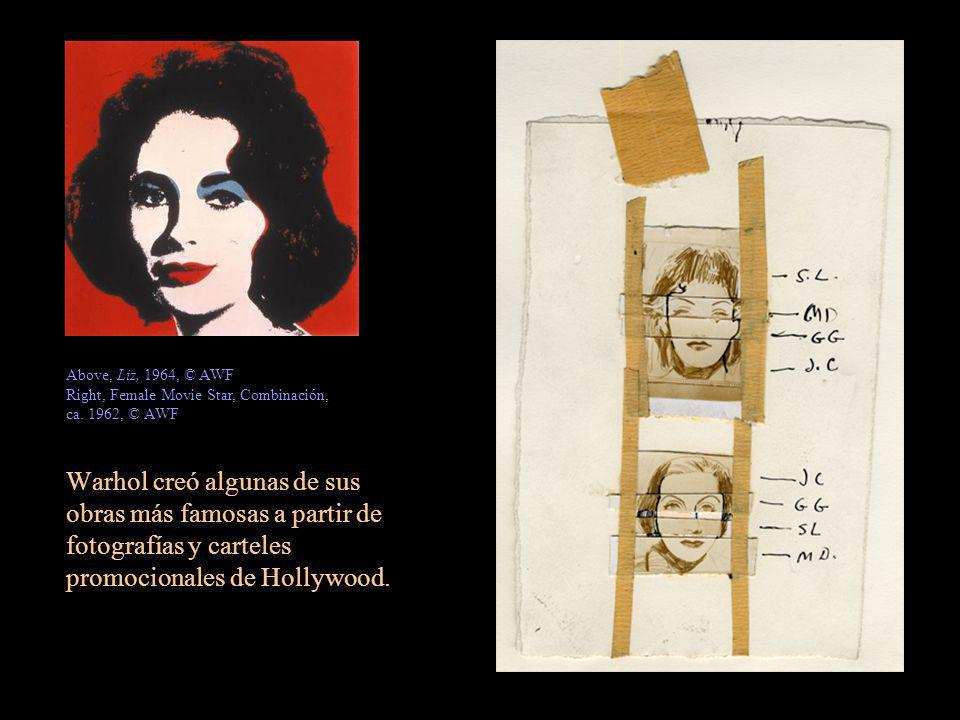 Warhol creó algunas de sus obras más famosas a partir de fotografías y carteles promocionales de Hollywood. Above, Liz, 1964, © AWF Right, Female Movi