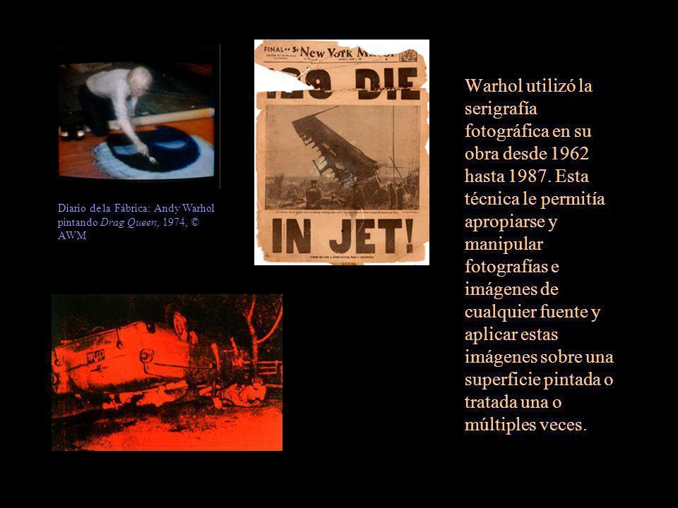 Warhol utilizó la serigrafía fotográfica en su obra desde 1962 hasta 1987. Esta técnica le permitía apropiarse y manipular fotografías e imágenes de c
