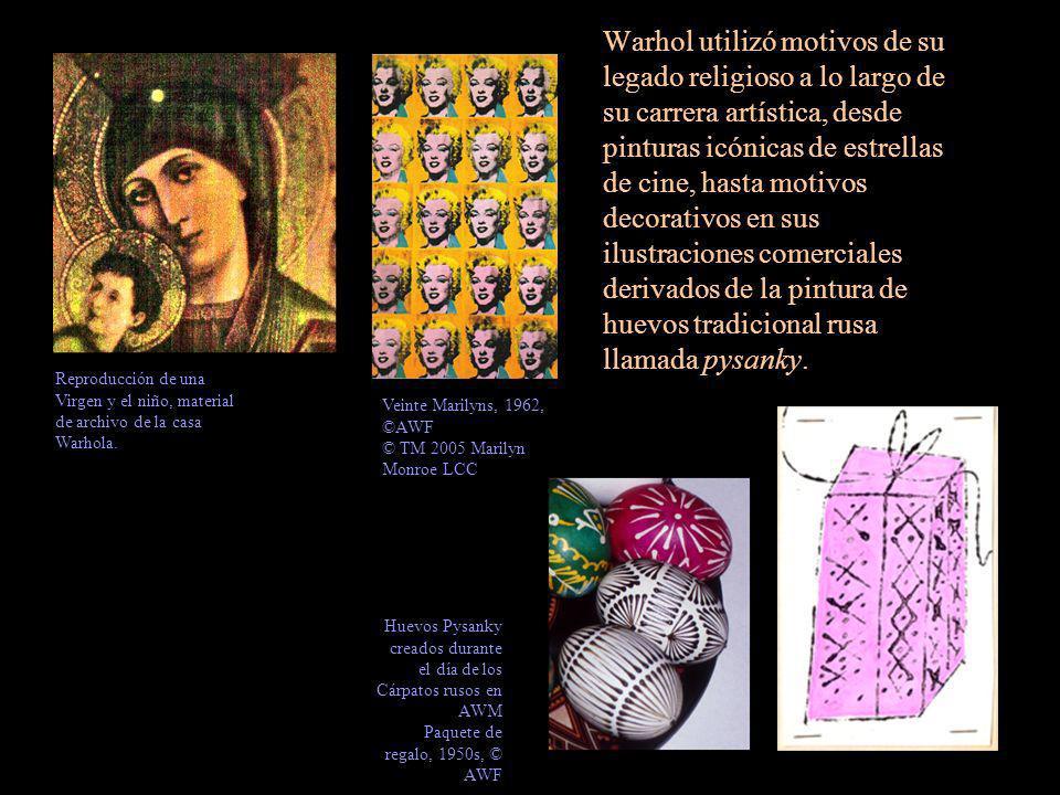 Warhol utilizó motivos de su legado religioso a lo largo de su carrera artística, desde pinturas icónicas de estrellas de cine, hasta motivos decorati
