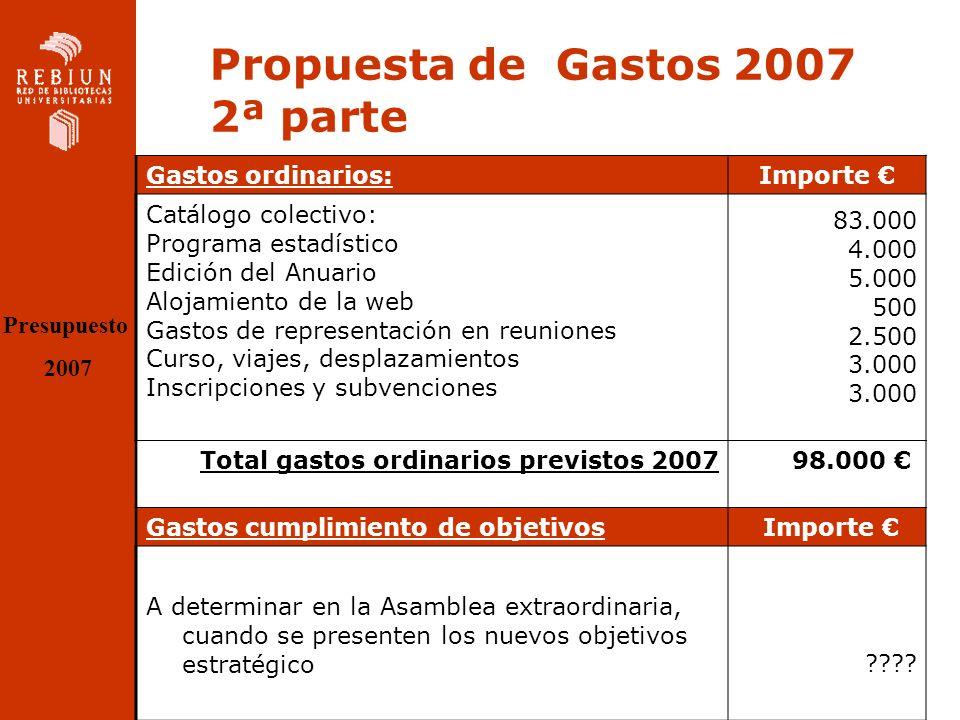 Propuesta de ingresos 2007 Cuotas Miembros REBIUN –Subida del 3,5% en concepto de IPC (+100 ) –Nº de Bibliotecas con cuota:70 –70 x 2900 = 203.000 IVA incluido Cuota a Centros Asociados: (Si incluyen sus registros en el Catálogo Colectivo): –1500 x 5 = 7.500 TOTAL 210.500 iva incluido Presupuesto 2007 TOTAL PROPUESTA DE INGRESOS SIN IVA: 181.465,51