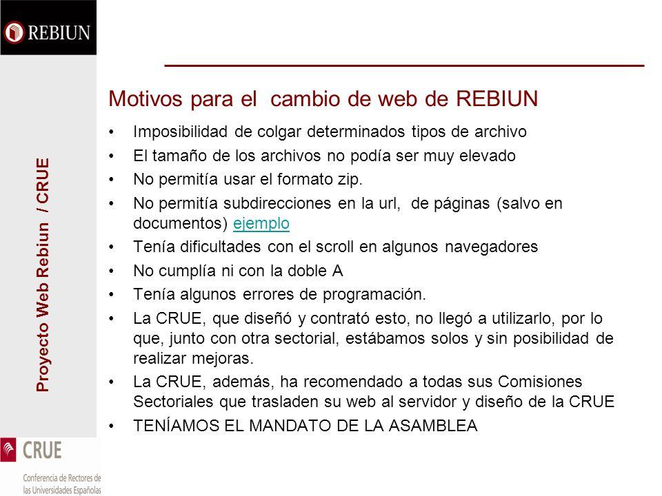 Proyecto Web Rebiun / CRUE Motivos para el cambio de web de REBIUN Imposibilidad de colgar determinados tipos de archivo El tamaño de los archivos no