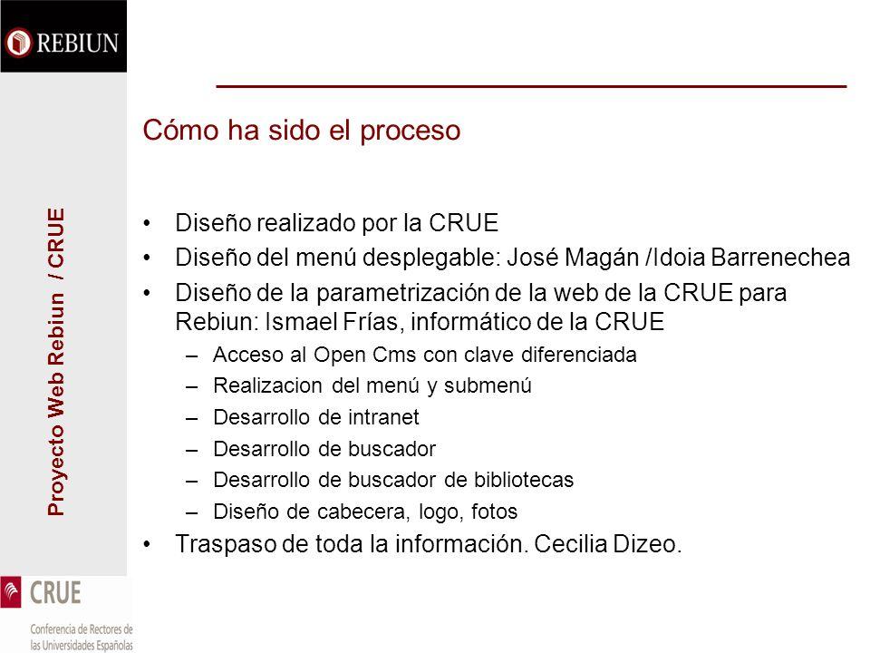 Proyecto Web Rebiun / CRUE Cómo ha sido el proceso Diseño realizado por la CRUE Diseño del menú desplegable: José Magán /Idoia Barrenechea Diseño de l