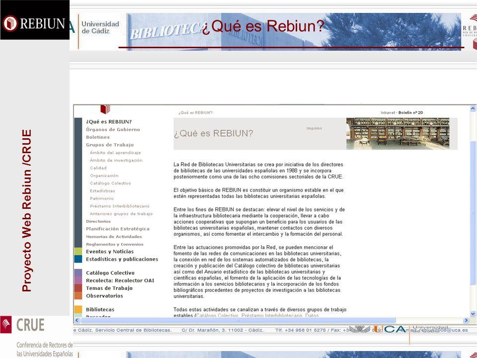 Proyecto Web Rebiun /CRUE ¿Qué es Rebiun?