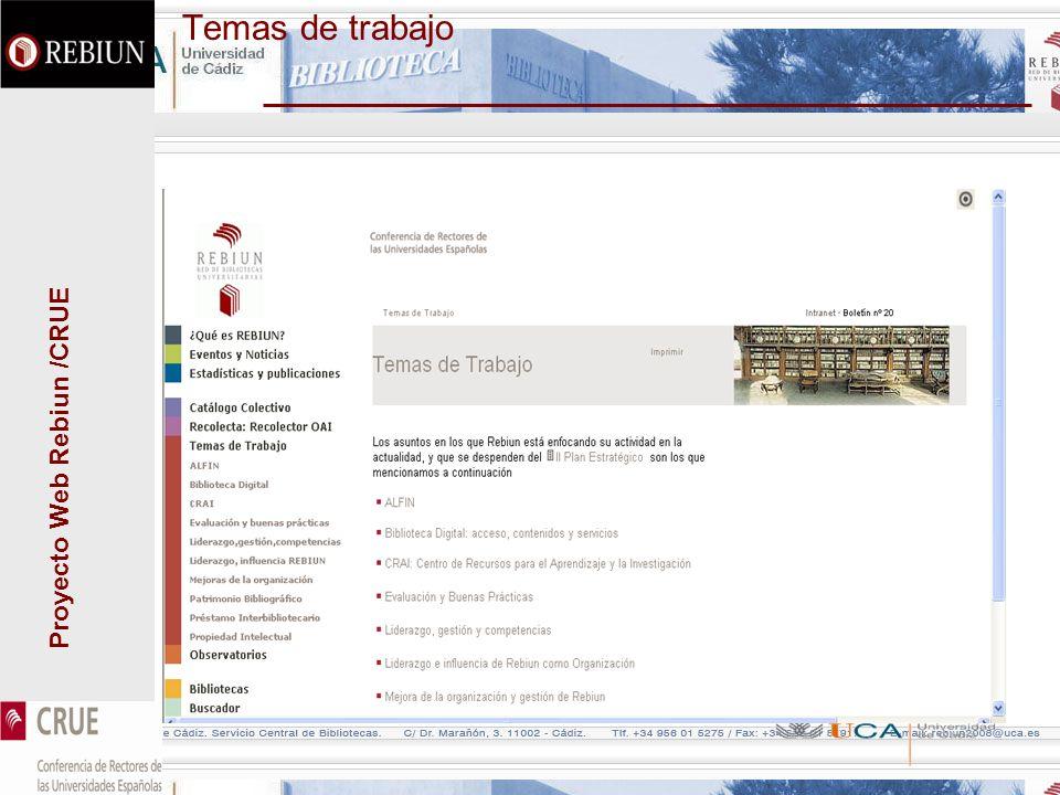 Proyecto Web Rebiun /CRUE Temas de trabajo