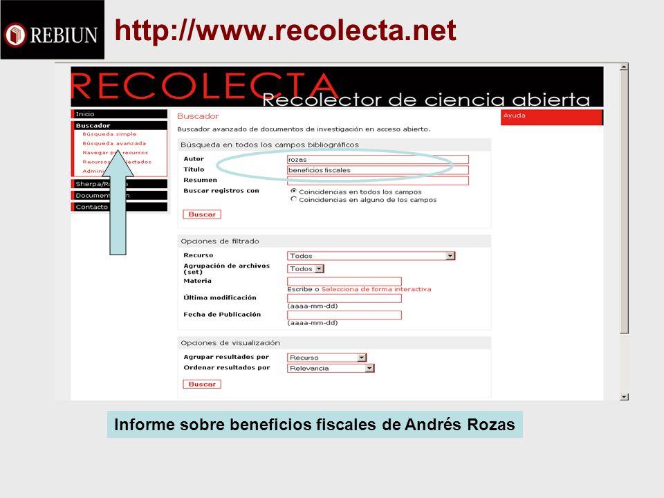 http://www.recolecta.net Informe sobre beneficios fiscales de Andrés Rozas