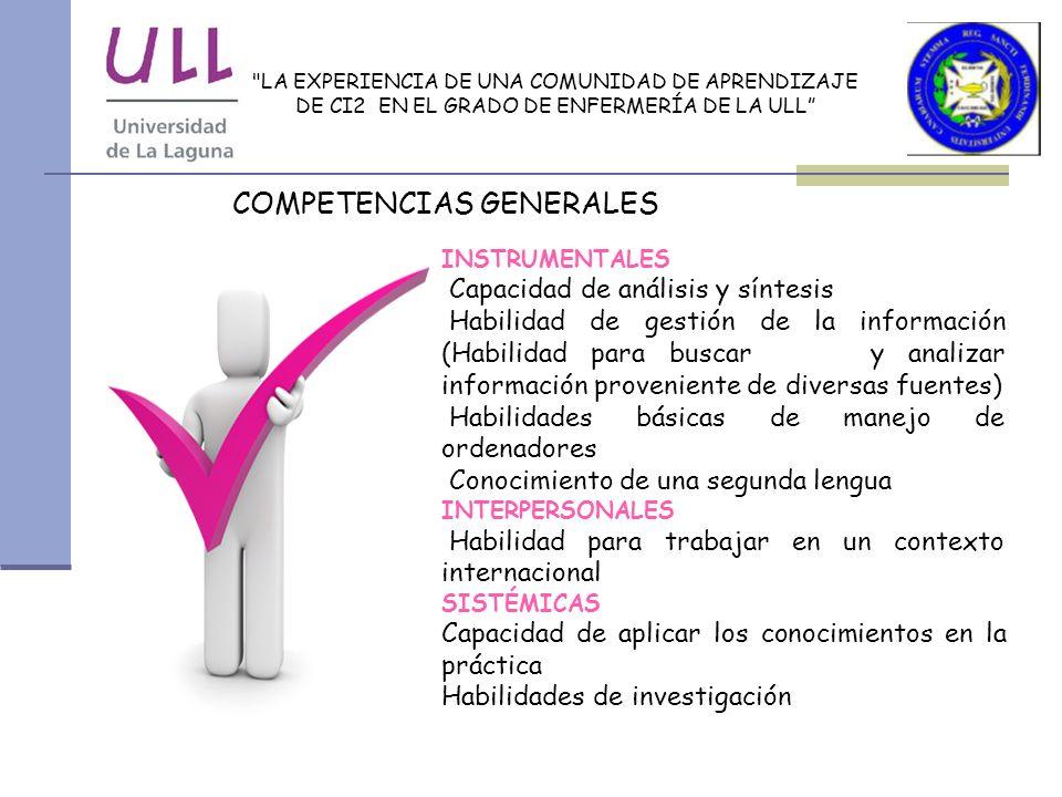 LA EXPERIENCIA DE UNA COMUNIDAD DE APRENDIZAJE DE CI2 EN EL GRADO DE ENFERMERÍA DE LA ULL COMPETENCIAS ESPECÍFICAS CONOCIMIENTOS (SABER) Capacidad de hacer valer los juicios clínicos para asegurar que se alcanzan los estándares de calidad y que la práctica está basada en la evidencia.