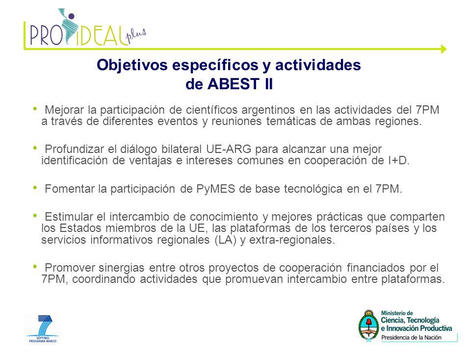 4 Objetivos específicos y actividades de ABEST II Mejorar la participación de científicos argentinos en las actividades del 7PM a través de diferentes eventos y reuniones temáticas de ambas regiones.