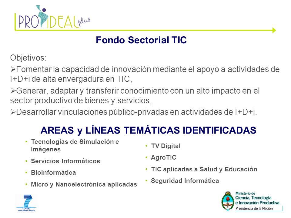 9 Fondo Sectorial TIC Objetivos: Fomentar la capacidad de innovación mediante el apoyo a actividades de I+D+i de alta envergadura en TIC, Generar, adaptar y transferir conocimiento con un alto impacto en el sector productivo de bienes y servicios, Desarrollar vinculaciones público-privadas en actividades de I+D+i.