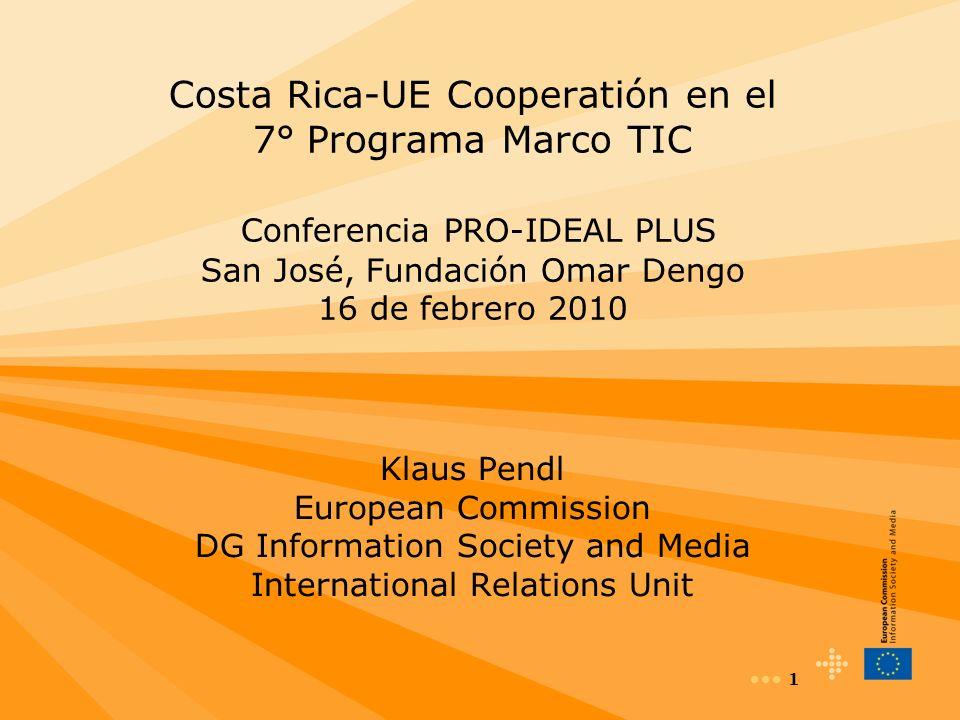 12 Participaciones de Latino-América (ICT+ eI) Incremento significativo de participantes de Costa Rica Mayor participación LA en los 3 primeros años del 7 PM que en 5 años del 6 PM + ICT Call 6, etc participación de 12 países LA Participantes LA FP6 Total FP7 Parcial BRAZIL4028 CHILE917 ARGENTINA713 URUGUAY29 COLOMBIA17 MEXICO66 PERU36 COSTA RICA15 VENEZUELA33 GUATEMALA21 ECUADOR11 HONDURAS01 PARAGUAY10 AMERICA LATINA8097
