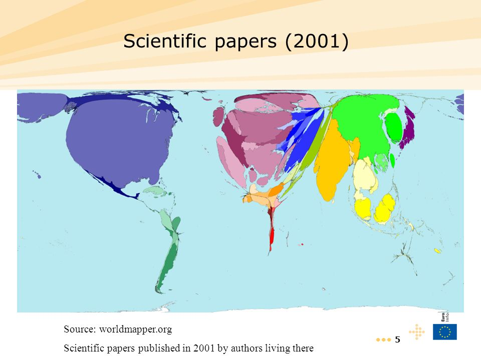 6 Growth in scientific papers (1990-2001) Source: worldmapper.org Number of extra scientific papers published in 2001 compared with 1990, whose authors work there