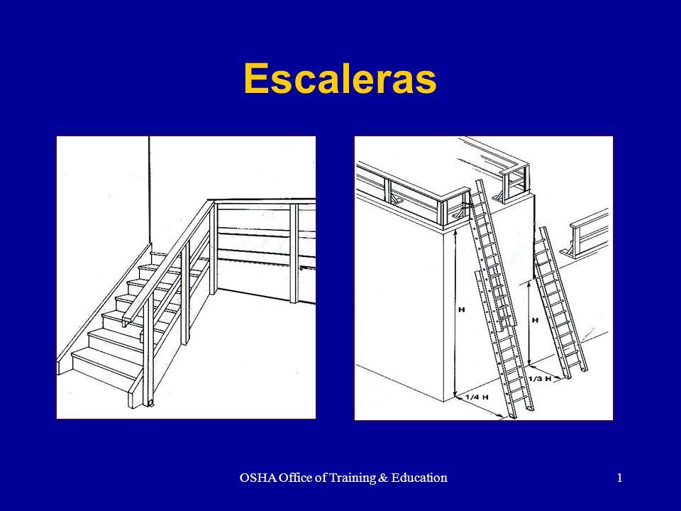 OSHA Office of Training & Education12 REQUISITOS GENERALES Medidas de Escaleras Ancho – 22 Descanso por lo menos 30 de profundidad cada 12 pies o menos Aplica a las que no serán parte de la estructura permanente.