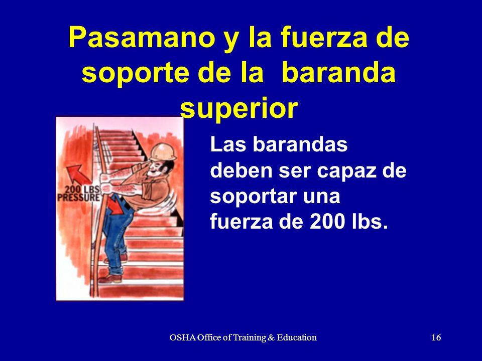 OSHA Office of Training & Education16 Las barandas deben ser capaz de soportar una fuerza de 200 lbs. Pasamano y la fuerza de soporte de la baranda su