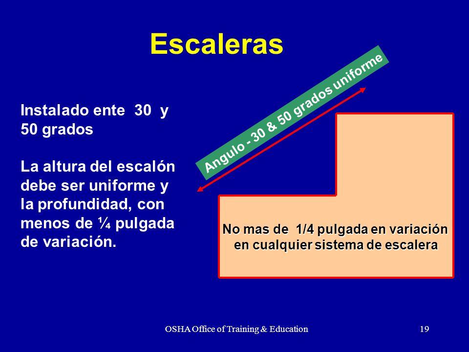 OSHA Office of Training & Education19 Instalado ente 30 y 50 grados La altura del escalón debe ser uniforme y la profundidad, con menos de ¼ pulgada d