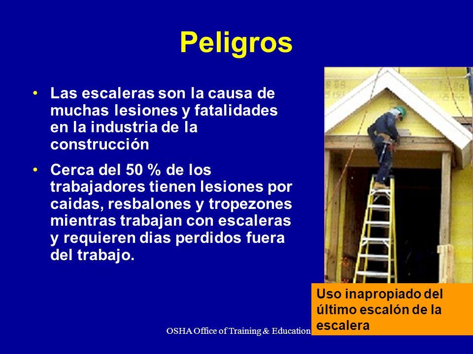 OSHA Office of Training & Education4 Al finalizar este adiestramiento usted debe conocer: Guias de seguridad, prácticas seguras y requisitos al utilizar escaleras usadas en el area de la construcción Resbalones, Tropezones y Caídas de Escaleras