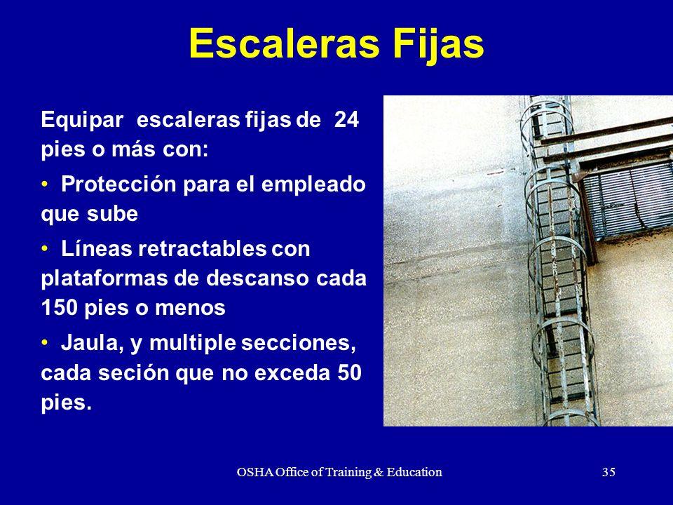 OSHA Office of Training & Education35 Escaleras Fijas Equipar escaleras fijas de 24 pies o más con: Protección para el empleado que sube Líneas retrac