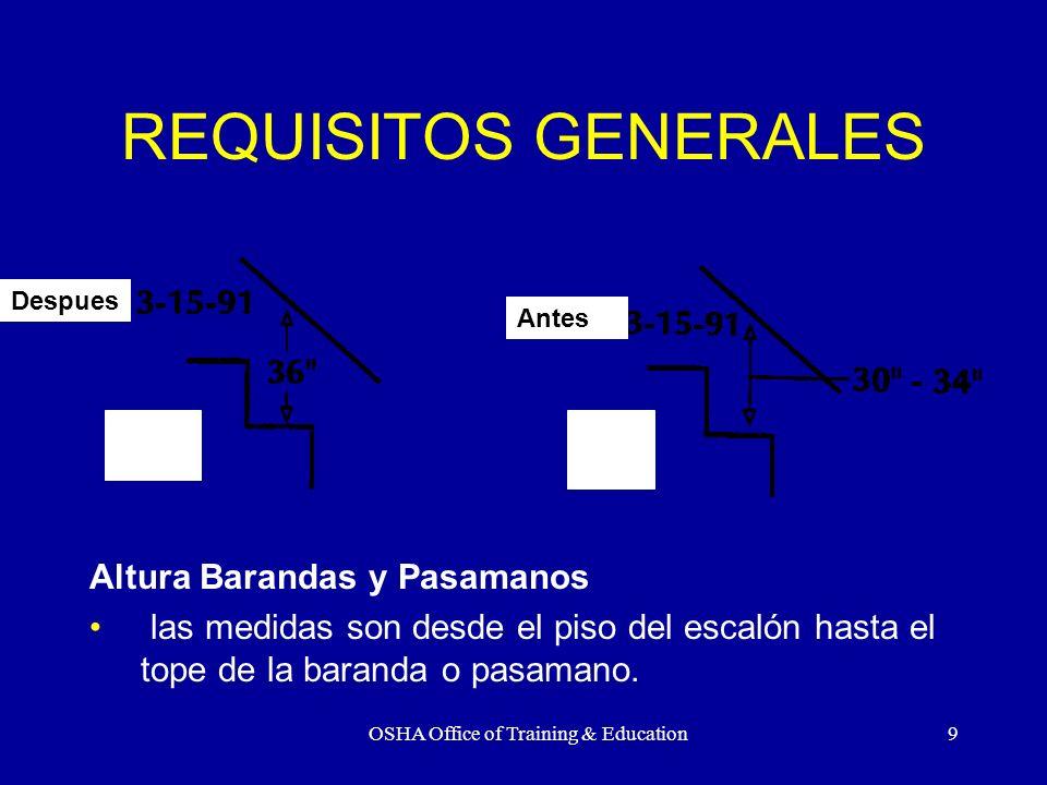 OSHA Office of Training & Education10 REQUISITOS GENERALES Pasamanos Deben resistir 200 lbs.