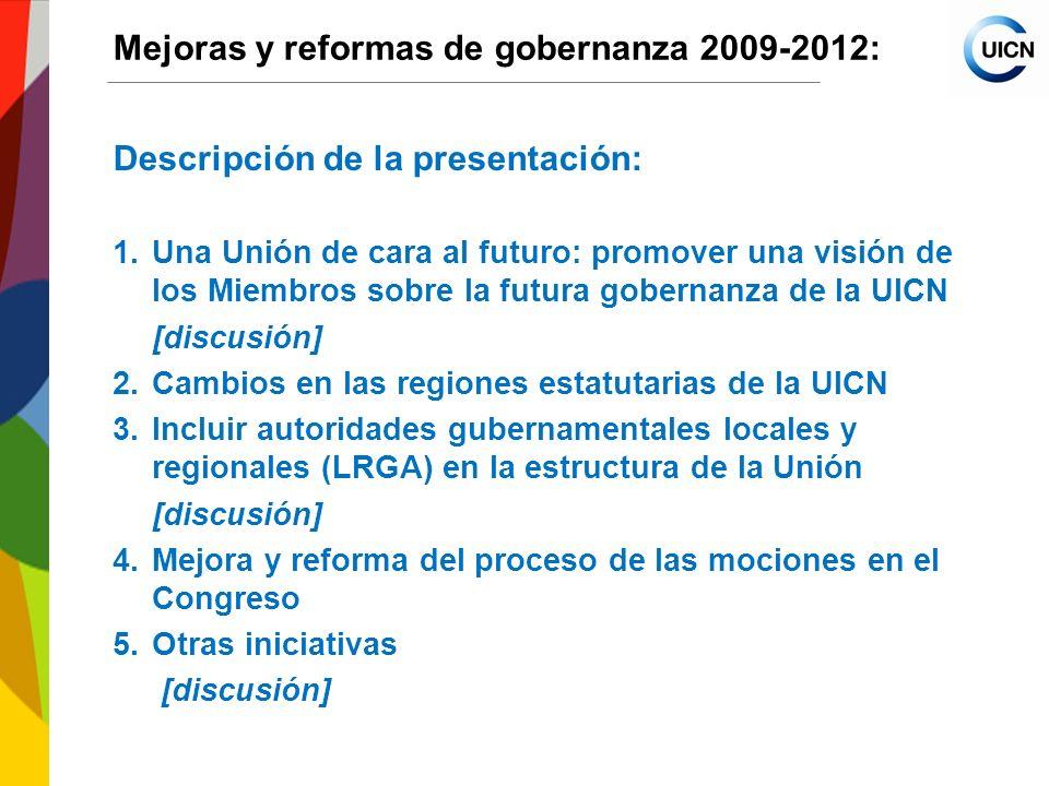 International Union for Conservation of Nature World Conservation Congress 2012 Mejoras y reformas de gobernanza 2009-2012: 3.Incluir autoridades gubernamentales locales y regionales (AGLR) en la estructura de la Unión (cont.) Propuestas bajo estudio (cont.): 2.