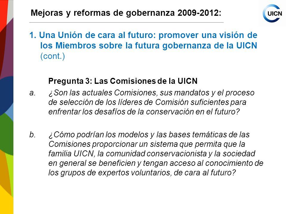International Union for Conservation of Nature World Conservation Congress 2012 Mejoras y reformas de gobernanza 2009-2012: 5.Otros asuntos 5.1Eficacia del Consejo Aclarar las principales funciones del Consejo (enmiendas propuestas a los Estatutos de la UICN, art.