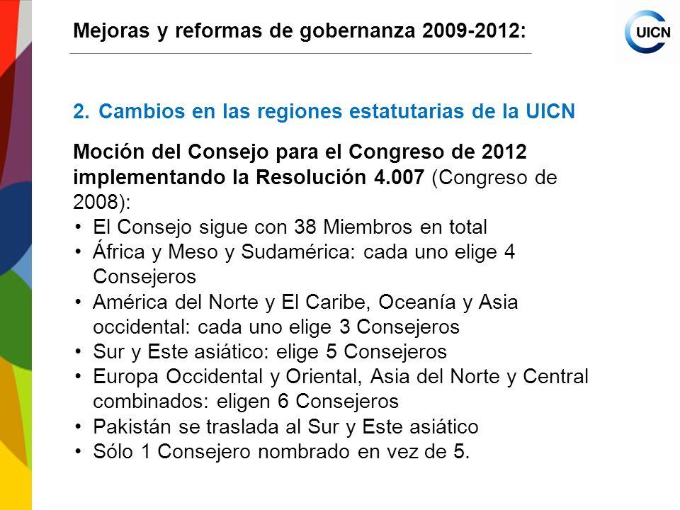 International Union for Conservation of Nature World Conservation Congress 2012 Mejoras y reformas de gobernanza 2009-2012: 5.Otras iniciativas: (cont.) 5.3Mejorar los criterios para la admisión de Miembros (cont.) Modificaciones a los párrafos 5 y 6 del Reglamento de la UICN relacionados con los criterios de admisión de Miembros: e.g.
