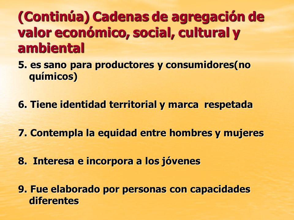 (Continúa) Cadenas de agregación de valor económico, social, cultural y ambiental 5. es sano para productores y consumidores(no químicos) 6. Tiene ide