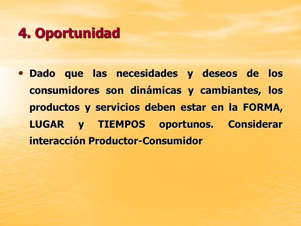 4. Oportunidad Dado que las necesidades y deseos de los consumidores son dinámicas y cambiantes, los productos y servicios deben estar en la FORMA, LU