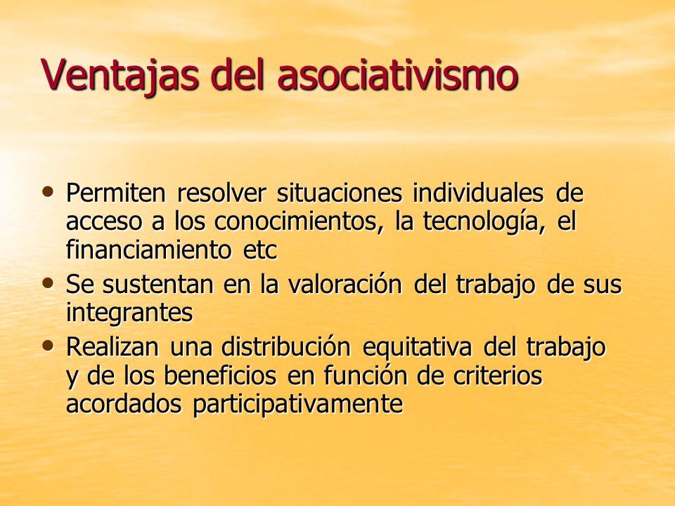Ventajas del asociativismo Permiten resolver situaciones individuales de acceso a los conocimientos, la tecnología, el financiamiento etc Permiten res