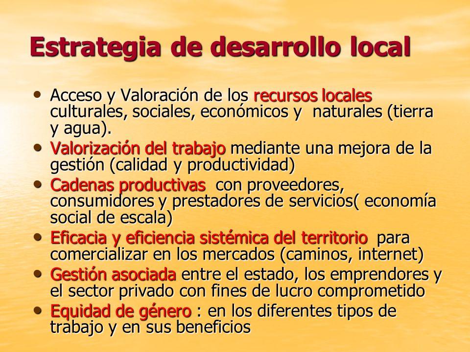 Estrategia de desarrollo local Acceso y Valoración de los recursos locales culturales, sociales, económicos y naturales (tierra y agua). Acceso y Valo