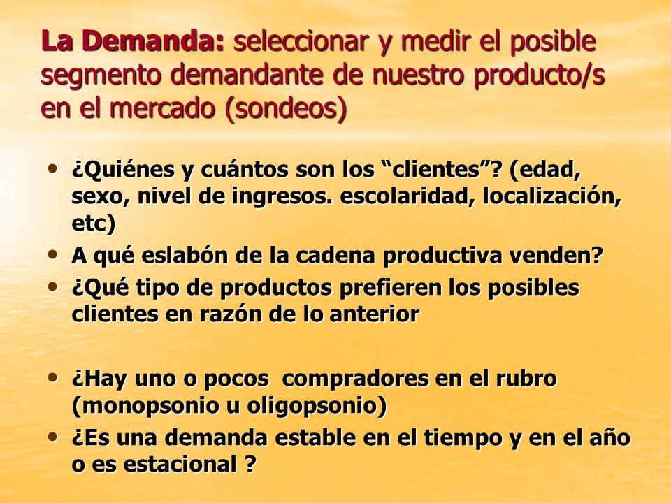 La Demanda: seleccionar y medir el posible segmento demandante de nuestro producto/s en el mercado (sondeos) ¿Quiénes y cuántos son los clientes? (eda