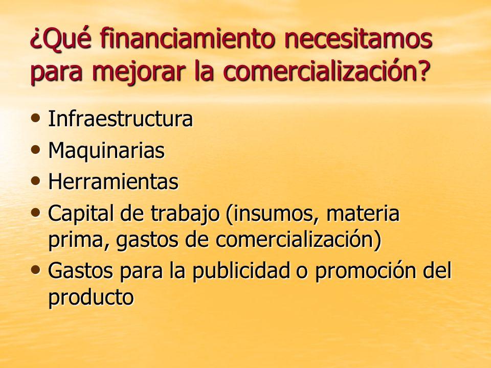 ¿Qué financiamiento necesitamos para mejorar la comercialización? Infraestructura Infraestructura Maquinarias Maquinarias Herramientas Herramientas Ca
