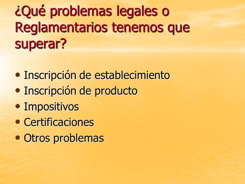 ¿Qué problemas legales o Reglamentarios tenemos que superar? Inscripción de establecimiento Inscripción de establecimiento Inscripción de producto Ins