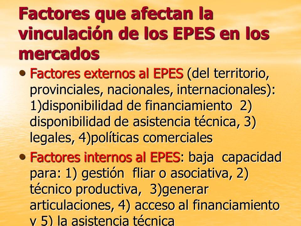 Factores que afectan la vinculación de los EPES en los mercados Factores externos al EPES (del territorio, provinciales, nacionales, internacionales):
