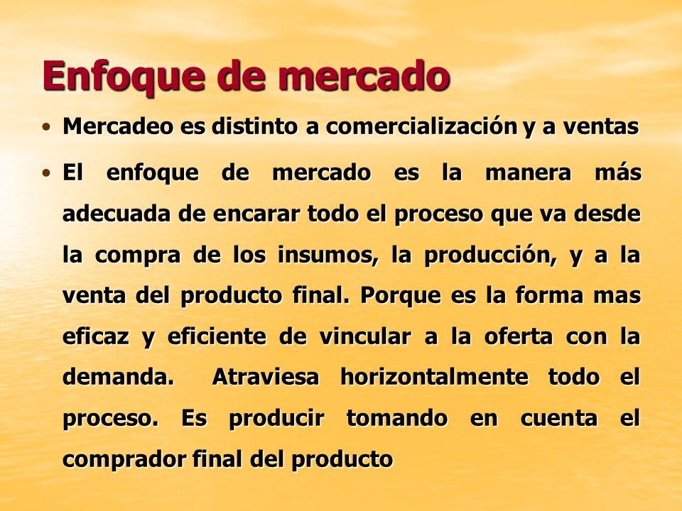 Enfoque de mercado Mercadeo es distinto a comercialización y a ventasMercadeo es distinto a comercialización y a ventas El enfoque de mercado es la ma