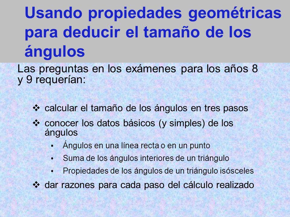 Usando propiedades geométricas para deducir el tamaño de los ángulos Las preguntas en los exámenes para los años 8 y 9 requerían: calcular el tamaño de los ángulos en tres pasos conocer los datos básicos (y simples) de los ángulos Ángulos en una línea recta o en un punto Suma de los ángulos interiores de un triángulo Propiedades de los ángulos de un triángulo isósceles dar razones para cada paso del cálculo realizado
