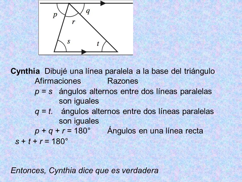Cynthia Dibujé una línea paralela a la base del triángulo AfirmacionesRazones p = sángulos alternos entre dos líneas paralelas son iguales q = t.