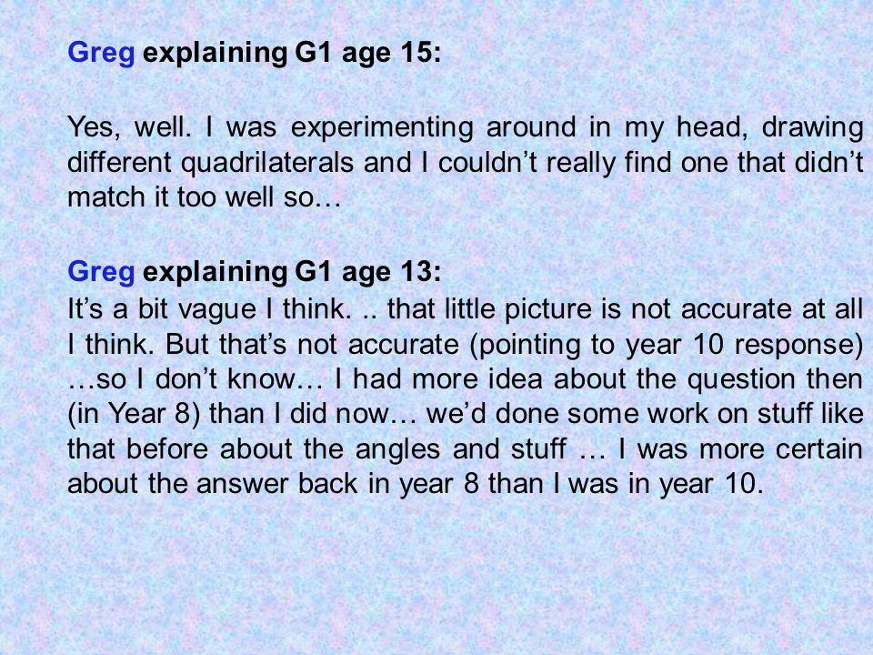 Greg explaining G1 age 15: Yes, well.
