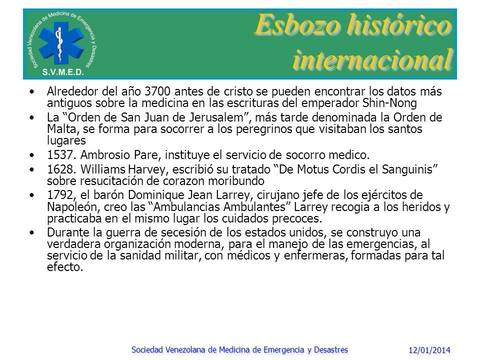 12/01/2014 Sociedad Venezolana de Medicina de Emergencia y Desastres Esbozo histórico internacional 1884, se crea el servicio de ambulancia municipal de Paris con sede en el hotel Dieu.