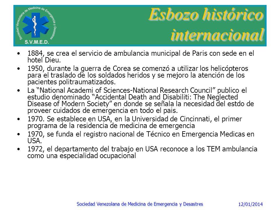 12/01/2014 Sociedad Venezolana de Medicina de Emergencia y Desastres Esbozo histórico nacional 1535.