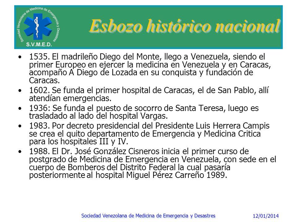 12/01/2014 Sociedad Venezolana de Medicina de Emergencia y Desastres Esbozo histórico nacional En la asamblea anual de la Federación Médica Venezolana, en la ciudad de Valencia entre el 15 y el 20 de Octubre, fue reconocida la Medicina de Emergencia como nueva especialidad.