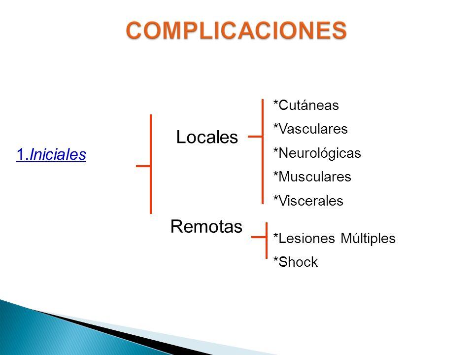 Locales Remotas *Cutáneas *Vasculares *Neurológicas *Musculares *Viscerales *Lesiones Múltiples *Shock 1.Iniciales