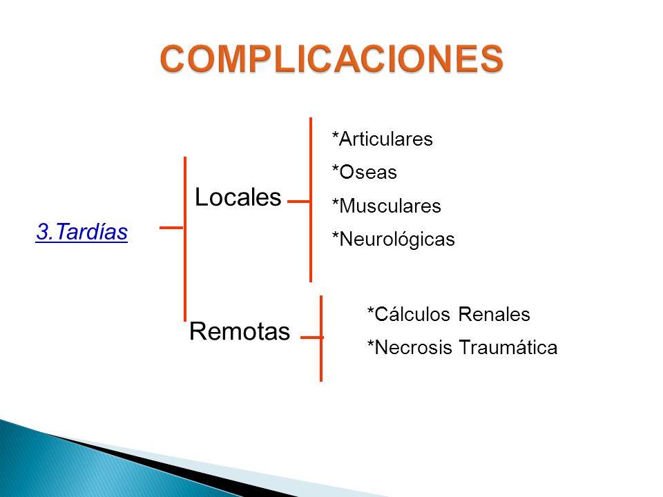 3.Tardías Locales Remotas *Articulares *Oseas *Musculares *Neurológicas *Cálculos Renales *Necrosis Traumática