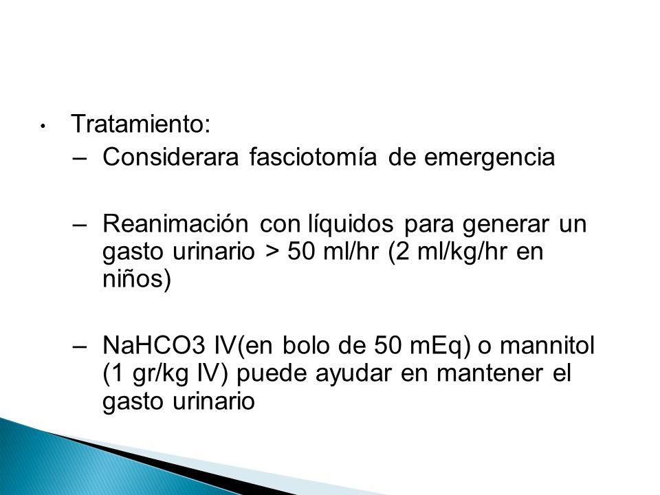 Tratamiento: –Considerara fasciotomía de emergencia –Reanimación con líquidos para generar un gasto urinario > 50 ml/hr (2 ml/kg/hr en niños) –NaHCO3